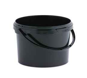 3 Litre Plastic Black Tamper Evident Bucket with Plastic Handle