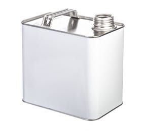 2.5 Litre White Rectangular UN Approved Tin Plain Interior with 38mm Screw Neck