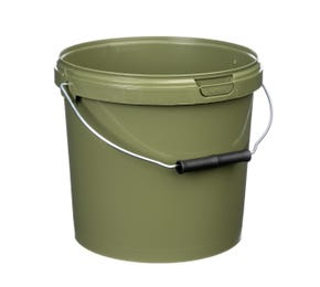 5 Litre Plastic Green Tamper Evident Fishing Bucket With Roller Grip Wire Handle