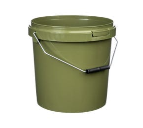 10 Litre Plastic Green Tamper Evident Fishing Bucket With Roller Grip Wire Handle