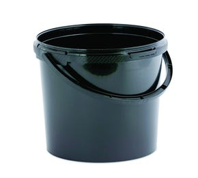 5.6 Litre Plastic Black Tamper Evident Bucket with Plastic Handle