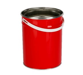 5 Litre Tinplate Red Pail Plain Interior With Plastic Handle UN Approved